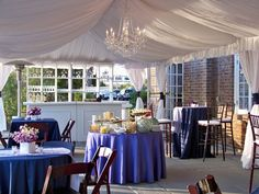 Tented open patio at The Historic Rice Mill | Designed by Engaging Events | Charleston SC Wedding