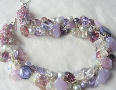 Chunky Stone and Glass Beads Hand Knit Cluster Necklace - Amethyst, Purple, Violet, Lavender - PURPLE HAZE - OOAK  wearable fiber art