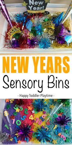 New Years Sensory Bins - HAPPY TODDLER PLAYTIME New Years Sensory Bins are a fun way to ring in the new year with your toddler. Here are two amazing ideas with two very different and fun fillers. Sensory Activities Toddlers, Activities For 2 Year Olds, Stem Activities, Christmas Activities, Sensory Play, Sensory Diet, Indoor Activities, Toddler Crafts, Preschool Crafts