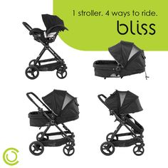 The new Contours Bliss has 4 different modes to grow with baby from infancy to toddlerhood.  #GrowWithMe #Stroller