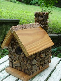 Rustic Rock Birdhouse by JaCoBirdhouses on Etsy, $75.00