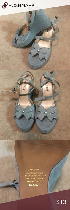 Colin Stuart blue suede wedge heels. Gently worn platform wedge suede sandals. So cute with jeans or short shorts. Size 9, true to size. Super cute. Colin Stuart Shoes Wedges