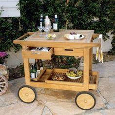 Serving Cart with Wheels (Teak Trolley)