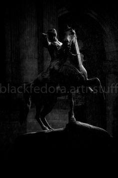 snowy horse and rider at night sculpture by BlackFedoraArtnStuff, $22.00