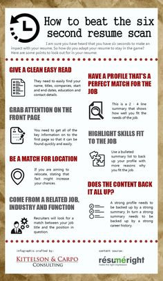 How to beat the six second resume scan - Resume Template Ideas of Resume Template - How to beat the six second resume scan Resume Advice, Resume Writing Tips, Resume Skills, Job Resume, How To Resume, Resume Help, Job Interview Preparation, Job Interview Questions, Job Interview Tips
