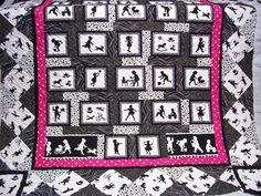Black and white quilt with a shot of pink