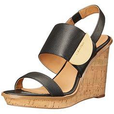Calvin Klein Women's Padma Wedge Sandal, Black, 6 M US