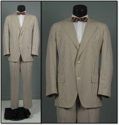 J PRESS SEERSUCKER Mens Vintage Suit 1960s 3 roll by jauntyrooster, $225.00