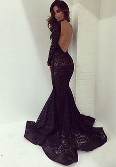 Black long prom dresses,sexy lace backless prom gown,mermaid prom dresses with long sleeves,modest evening gown,Fishtail dress