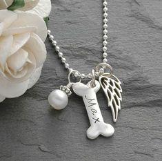 Divine Stampings Dog Memorial Jewelry - Dog Bone and Wing Necklace - Pet Remembrance Pet Memorial Jewelry, Pet Memorial Gifts, Dog Memorial, Dog Jewelry, Animal Jewelry, Colley, Pet Remembrance, Wing Necklace, Pet Loss