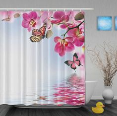 Custom Watercolor Pink Floral And Butterfly Chinese Style Shower Curtains Waterproof Fabric With Hooks Bathroom Shower Curtain