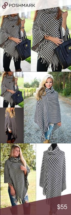 COMING SOON!PREORDER! 100% stunning striped poncho Striking black and white poncho, a beautiful addition to any wardrobe! 100% acrylic. Sweaters Shrugs & Ponchos