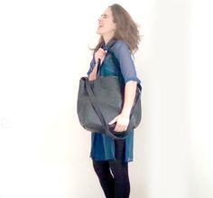 big tote bag/black messenger bag/faux leather by TahelSadot