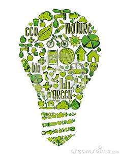 Vintage light bulb with environmental hand drawn icons in green. This illustration is layered for easy manipulation and custom coloring