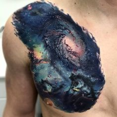 Seahorse Nebula and Blue Galaxy by Johnny Andres @ North Main Tattoo, Plymouth MI