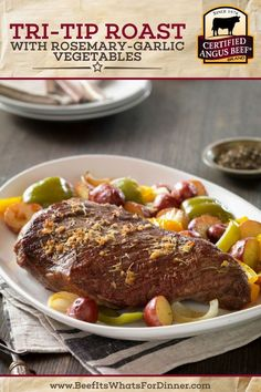 Cook an entire meal in one oven pan with this easy Tri-Tip Roast with Rosemary-Garlic Vegetables recipe. Delicious roast beef dinner with potatoes and veggies. Best Roast Beef Recipe, Best Beef Recipes, Pot Roast Recipes, Steak Recipes, Delicious Recipes, Roast Beef Dinner, How To Cook Beef, Angus Beef, Pinterest Recipes