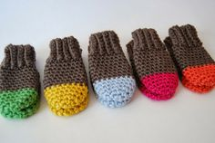 Crochet Two Tone Baby Mittens - Tutorial ❥ 4U // hf