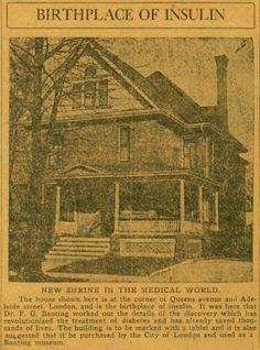 Frederick Banting, Diabetic Pump, School Nursing, Type One, Type 1 Diabetes, Medical History, Ontario, Cure, Discovery