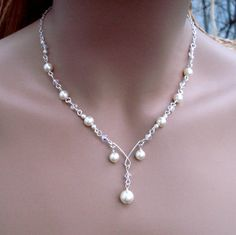 Elegant Bridal Jewelry Set Wired Crystal  Cream by SunVDesigns, $54.97