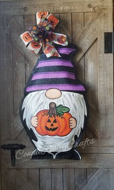 "New Photos Halloween Gnome Burlap Door Hanger Strategies Your individual door hanger Sure, the classic is of course the door pendant, in which on leading "" Halloween Door Hangers, Halloween Door Decorations, Burlap Door Hangers, Fall Door Hangers, Fall Crafts, Holiday Crafts, Diy And Crafts, Halloween Rocks, Halloween Crafts"