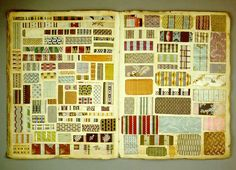 Title: Pattern book. Origin: France. Date: 1782/1805. Material: Different textiles, paper, cardboard, cotton yarn. German Historical Museum.