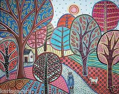 Tag Along CANVAS PAINTING 20x16inch FOLK ART Trees Girl Cat Landscape Karla G..Brand new painting, just finished and now available for purchase..