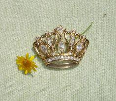 KJL Crown Brooch - Vintage Kenneth J Lane Avon Jewelry - Signed - In Original Box