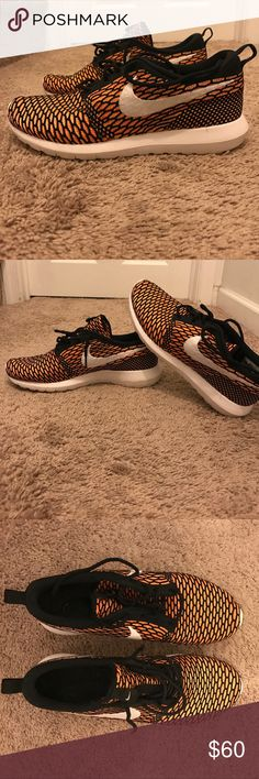 Men's Orange Nike Flyknit Roshe Running Shoes Worn 2-3 times. Size 11.5 Nike Shoes Sneakers