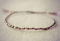Knotted Thread Friendship Bracelet with Small Gold Beads