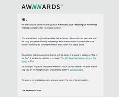 """Thank you for voting - our www.Club has won """"Honorable Mention"""" :-) Premium Wordpress Themes, Web Design, Language, Club, Life, Design Web, Languages, Language Arts, Website Designs"""