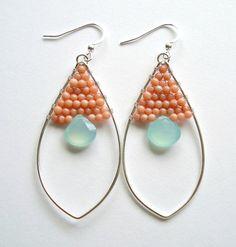 Peach Mint Hoop Earrings, Sterling Silver Oval Hoops, Peach Coral Aqua Earrings on Etsy, 10789Ft