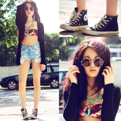 Levi's Levis 501, Zero Uv Sunglasses, Converse Chucks, New Look Cardigan, H&M Necklace, H&M Bikini Top