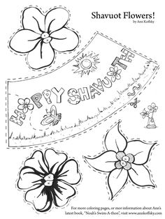 A Shavuot Activity Page Quick Directions In The Pictures Out Along Dotted Lines Pipe Cleaner Through Xs Of Each Flower Cup Template To