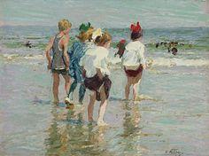 Edward Henry Potthast - Summer day, Brighton Beach - Potthast werkte impressionistisch. In de enigszins ingetogen kleuren die hij evenwel sterk laat contrasteren, vaak met felle accenten, kan tevens de invloed van de Münchense school worden herkend. Vanaf zijn terugkeer naar New York in 1896 schilderde hij hoofdzakelijk strandscènes, en plein air, vaak op Long Island en aan de kust van New England. Ook maakte hij een diverse landschappen.