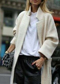 cream coat + white tee + leather trousers