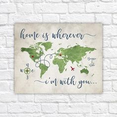 home is wherever im with you custom map long distance relationship gift personalized map for couple lovers quote rustic wf313