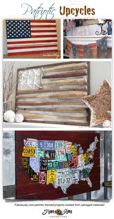 Patriotic Upcycles - fabulously cool patriotic projects created from salvaged materials on FunkyJunkInteriors.net