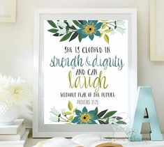 Nursery Bible verse print decor She is clothed in strength and dignity Proverbs 31:25 Scripture nursery Christian wall art decor ID116-117