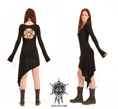 Pentagram dress. Goth dress. Gothic dress por AbstractikaCrafts