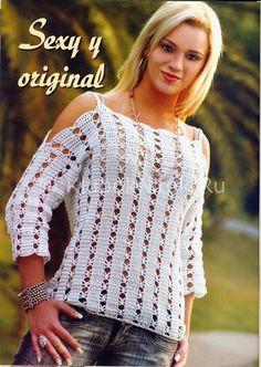 Белый пуловер   Вязание для женщин   Вязание спицами и крючком. Схемы вязания.