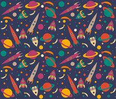 Rocket into Space fabric by tasha_goddard_designs on Spoonflower - custom fabric