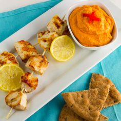 Chicken Kabobs with Roasted Red Pepper Hummus!!!!!