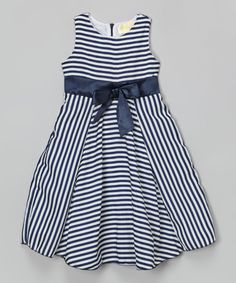 Look at this Navy Blue Stripe Dress - Toddler & Girls on #zulily today!