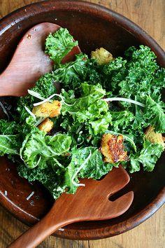 Kale Caesar Salad with Brioche Croutons...    ~XOX  #MomAndSonCookingTeam