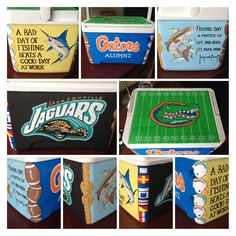 Custom painted cooler! Jacksonville Jaguars, Florida Gators, football, Guy Harvey, and fishing. For Father's Day! You can tell we are a Florida family