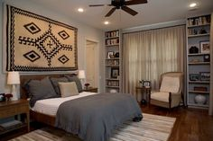 cool way to display rug on the wall