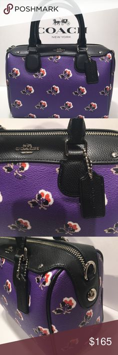 Coach Satchel %100 Authantic, brand new!!! Beautiful flower print! real leather!! Comes with Coach box and gift receipt!! Has crossbody strap Coach Bags Satchels