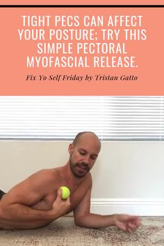 Tight pecs can affect your posture and force the body into a forward rounded position which wreaks havoc on your neck and upper back! Neck And Shoulder Exercises, Posture Exercises, Shoulder Workout, Neck Stretches, Shoulder Pain Relief, Neck Pain Relief, Neck And Shoulder Pain, Trigger Point Therapy, Massage Techniques