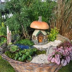 Fairy Garden Mushroom Cottage:   wow this takes me back, just like the one at my great grans, it was a ritual to feed the fairies :)