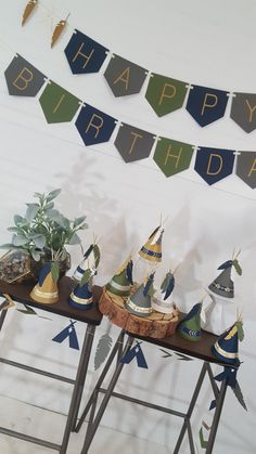 Tribal Wild One Teepee and Feather Happy Birthday Bunting